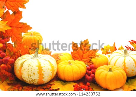 Border or frame of pumpkins and vibrant autumn leaves over white