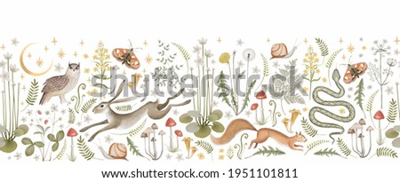 Border seamless pattern. Fairy forest. Moon, stars, hare, squirrel, owl, flowers and mushrooms on a white background.  Foto stock ©