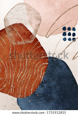 Border. Terracotta, navy blue, orange, blush, pink, ivory, beige watercolor Illustration and gold elements, on white background. Abstract modern print set. Logo. Wall art. Poster. Business card.