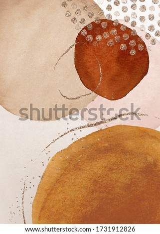 Border. Terracotta, orange, blush, pink, ivory, beige watercolor Illustration and gold elements, on white background. Abstract modern print set. Logo. Wall art. Poster. Business card.