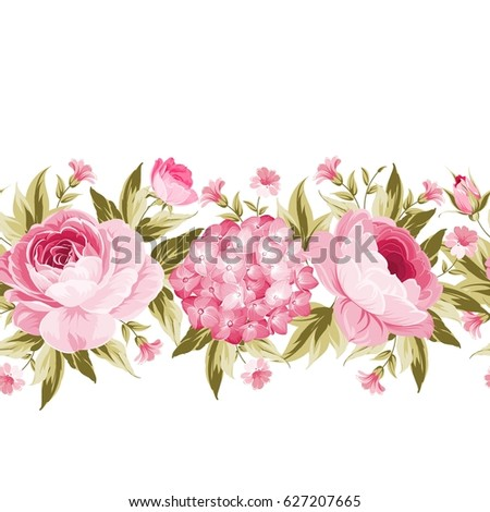 Border with blooming spring flowers in vintage style and clear text space. Line of flowers in vintage style isolated over white. Floral invitation card.