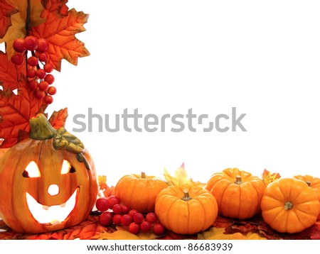 Border with jack-o-lantern and fall leaves with white background
