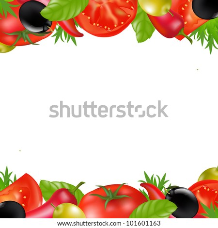 Border With Vegetables, Isolated On White Background