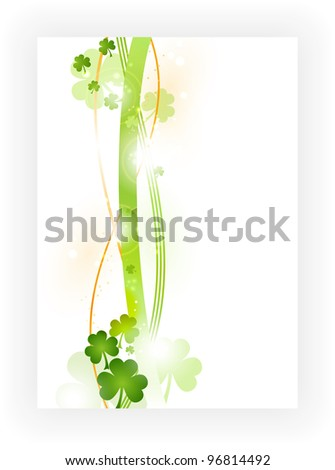 Border with wavy stripes in green and orange with green shamrocks and light effects. Great for the coming St. Patrick's day or any other Irish connected theme.