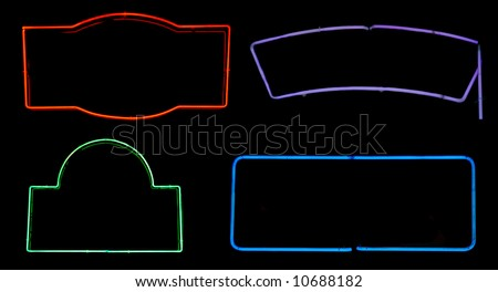 Borders and boxes from neon signs for design elements