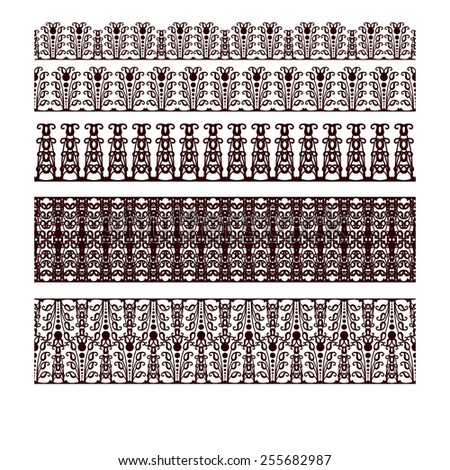 Borders decorative elements. Retro style set. #255682987