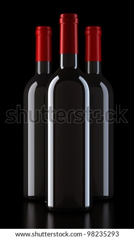 bordo shape red  wine bottles without labels + cliping path, render