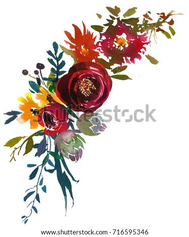 Bordo Yellow Watercolor Floral Green Leaves Round Wreath Isolated on White