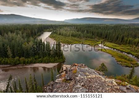 Boreal forest wilderness in beautiful McQuesten River valley in central Yukon Territory, Canada