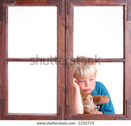 Bored child in a window