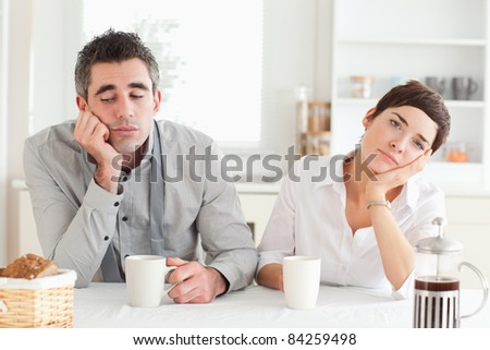 Bored Couple Bored Couple Drinking Coffee