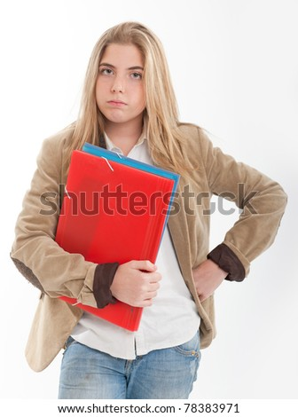 Bored female teenager holding a pair of files