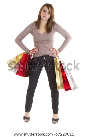 bored shopper woman with bags isolated on white