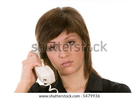 bored woman with phone