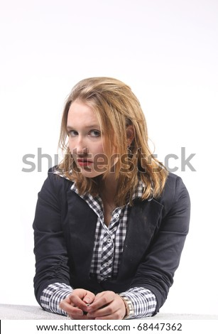Bored young woman in business suit