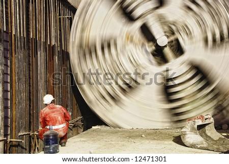 borer at work in undergound building site