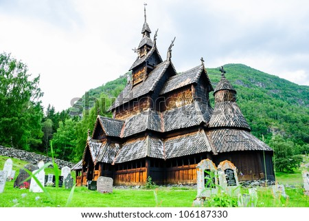Borgund Stave church. Built in 1180 to 1250, and dedicated to the Apostle St. Andrew. It is one of the best preserved stave churches in the world.
