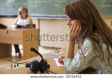 Boring girl in the class