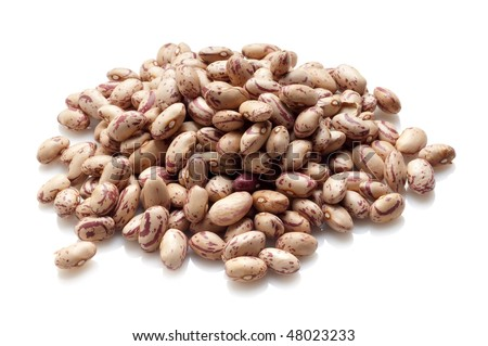 borlotti beans on white