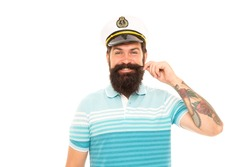 Born to play with storms and winds. Sea captain isolated on white. Happy captain twirl mustache. Captain commander of ship. Bearded man in captain uniform. World cruise. Marine adventure. Sea travel.