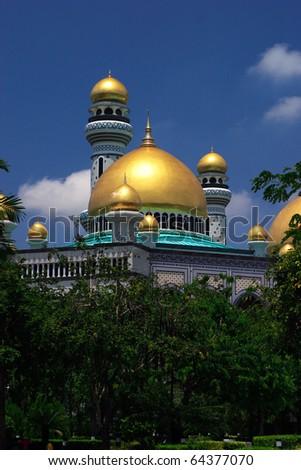 Borneo, Sultanate of Brunei, Bandar Seri Begawan, Jame'asr Hassanil Bolkiah mosque - stock photo