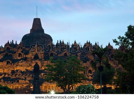 Borobudur Temple at Dusk in Yogyakarta, Java, Indonesia.