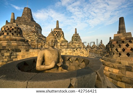 borobudur temple at sunset yogyakarta java indonesia stock photo