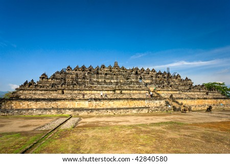 Borobudur Temple at sunset. Yogyakarta, Java, Indonesia. - stock photo