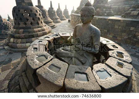 Borobudur Temple at sunset Yogyakarta Java Indonesia
