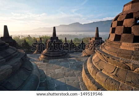 Borobudur Temple Morning Sunrise in Yogyakarta Java Indonesia
