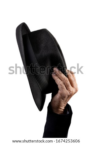 borsalino hat and old wrinkled hand  Stock photo ©