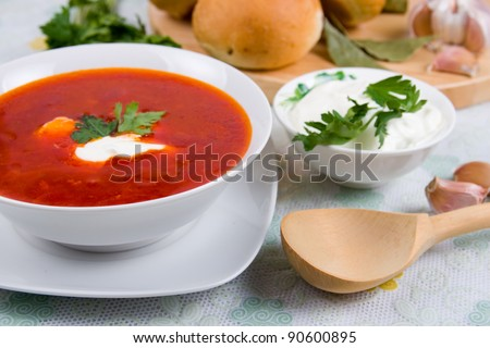 Borsch - Russian traditional spicy soup of vegetables and meat