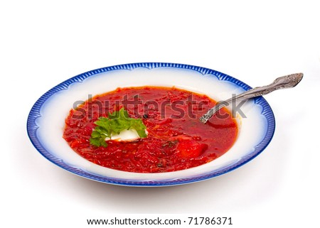 Borscht soup in traditional cuisine of Ukraine, Eastern Europe