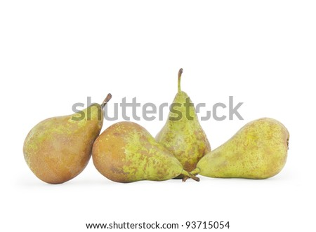 Bosc Pears isolated on white background