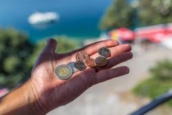 Bosnian coins in hand