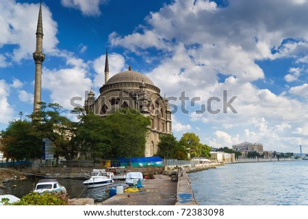 Bosphorus and Dolmabahce Mosque, Istanbul, Turkey