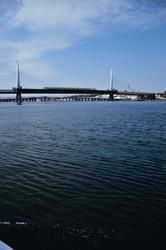 Bosphorus under the cable-stayed bridge (Istanbul, Turkey)