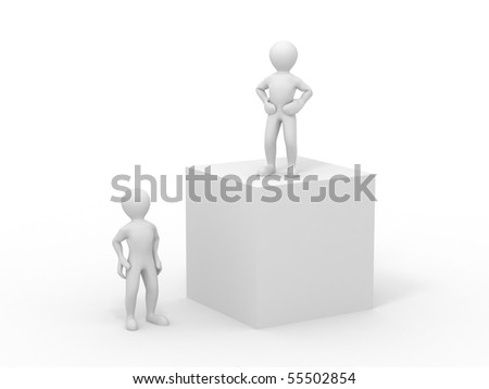 boss and employee. abstract illustration. 3d - stock photo