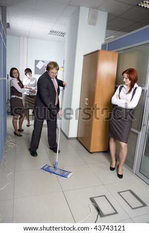 Boss fired cleaner. Boss washing the floor in office.