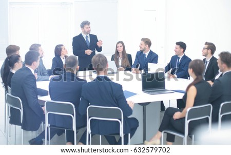 boss holding company holds a working meeting with the heads of d #632579702