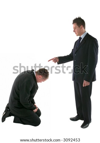 Boss pointing the figure of blame onto a cowering employee, isolated on white.