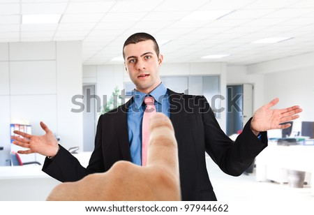 Boss pointing the finger to an employee
