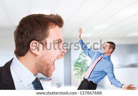 Boss shouting at an employee