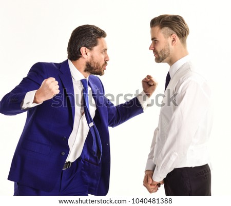Boss with aggressive expression threatens with violence to employee, violence at workplace. Young men in formal wear or businessmen fight, isolated on white. Subordination and conflicts concept.