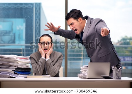 Boss yelling at his team member #730459546