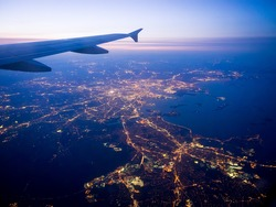 Boston and the coast of New England as seen from an airplane approach Logan Airport.