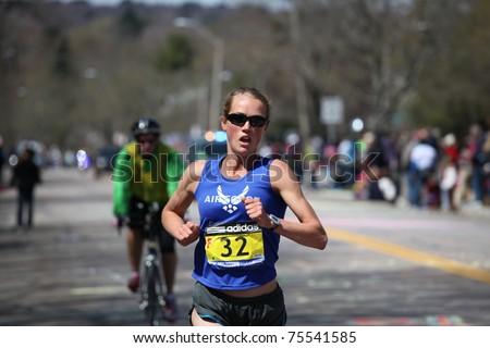 BOSTON - APRIL 18: Caroline White races up the Heartbreak Hill during the Boston Marathon April 18, 2011 in Boston. Caroline Kilel (Kenya) won the women's category with 2:22:36.