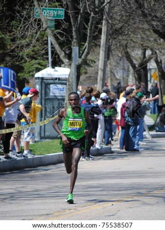 BOSTON - APRIL 18: Geoffrey Mutai (KEN) leads Boston Marathon after heartbreak hill going on to win in world record time (2:03:02) on April 18, 2011 in Boston, MA.