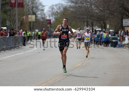 BOSTON - APRIL 17 Jordan Tropf of United States Naval Academy races in the Boston Marathon with a time of 2:28:43 on April 17, 2017 [public race]  #629943104