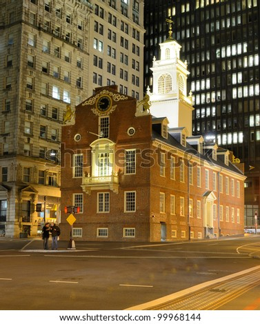 BOSTON - APRIL 4: Old State House April 4, 2012 in Boston, MA. Built in 1713, it is the oldest surviving public building in Boston and now serves as a history museum.